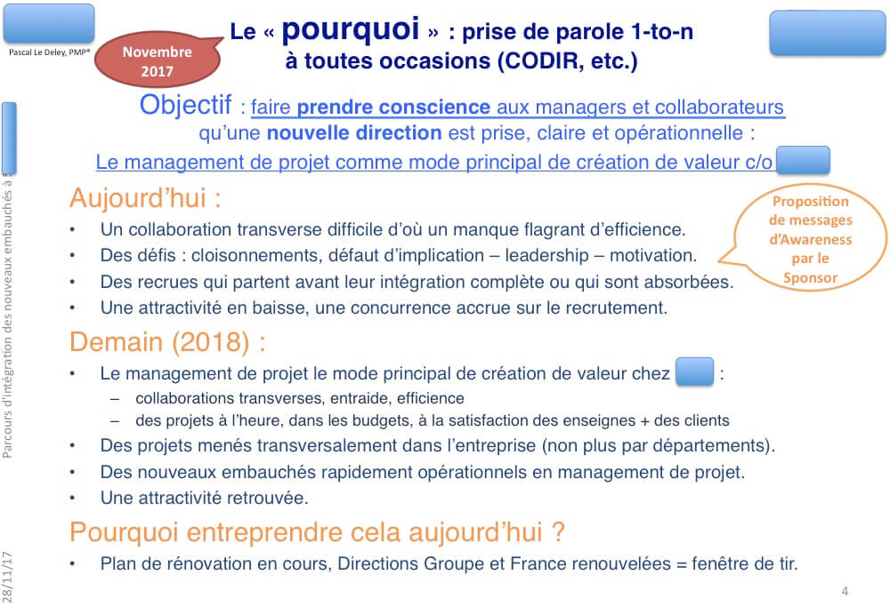Proposition de discours Awareness - prise de conscience du besoin de changer, à l'attention du sponsor de l'initiative.